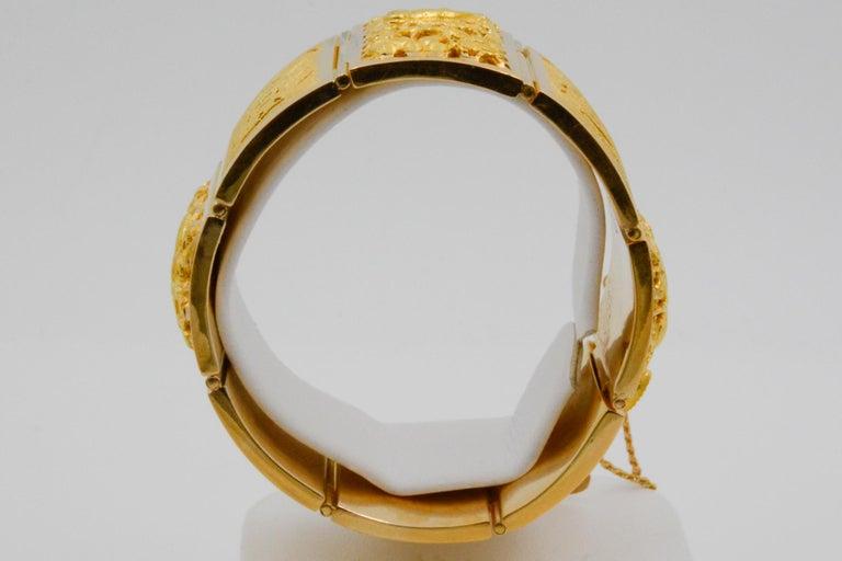 18 Karat Yellow Gold Asian Four Season Panel Bracelet For Sale 6