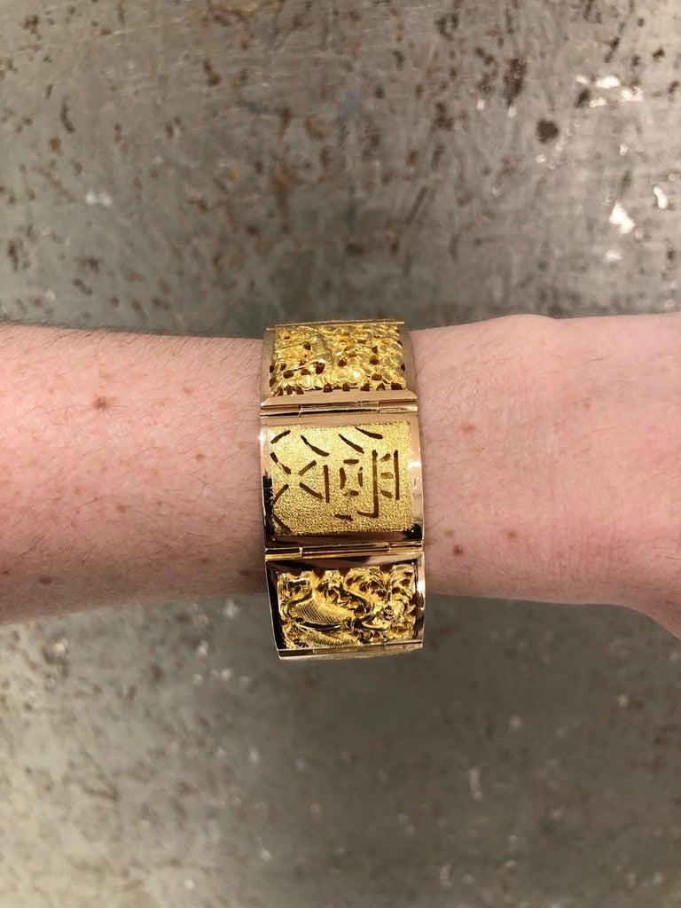 18 Karat Yellow Gold Asian Four Season Panel Bracelet For Sale 7