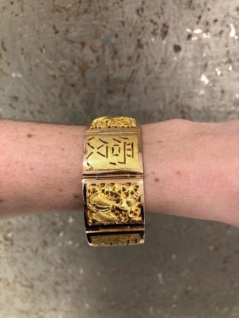 18 Karat Yellow Gold Asian Four Season Panel Bracelet For Sale 8