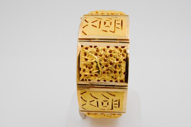 Modern 18 Karat Yellow Gold Asian Four Season Panel Bracelet For Sale