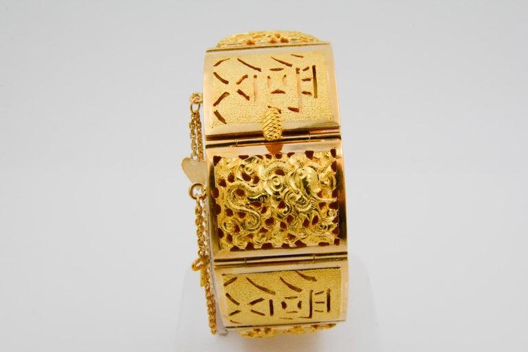 18 Karat Yellow Gold Asian Four Season Panel Bracelet For Sale 1