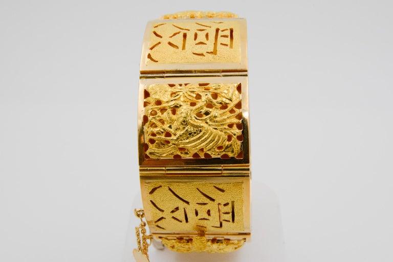 18 Karat Yellow Gold Asian Four Season Panel Bracelet For Sale 2