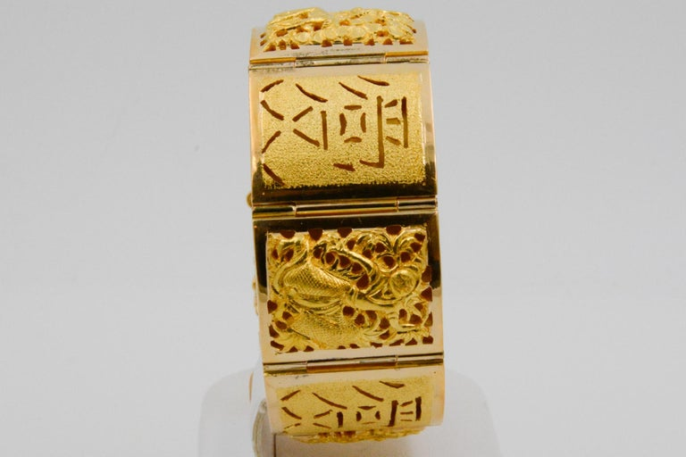 18 Karat Yellow Gold Asian Four Season Panel Bracelet For Sale 3