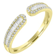 18k Yellow Gold Baguette Diamond Cuff Ring