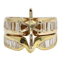 18 Karat Gold Baguette Semi Mount Wedding Ring with 2.31 Carat of Diamonds