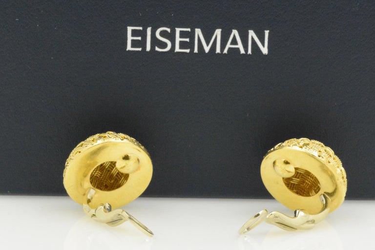 Women's 18 Karat Yellow Gold Basket Weave Button Clip Earrings For Sale