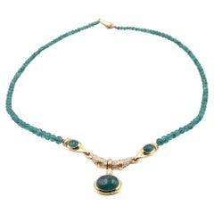 18 Karat Yellow Gold Beaded Emerald and Diamond Necklace