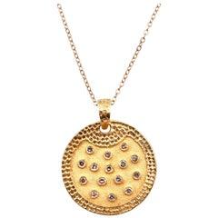 18 Karat Yellow Gold Bezel Set Diamond Disc Necklace