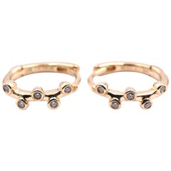 18 Karat Yellow Gold Bezel Set Huggie Diamond Earrings