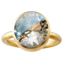 18K Yellow Gold Blue Fluorite Cognac Quart Two-Stone Modern Cocktail Ring 7-13