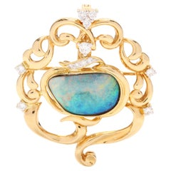 18 Karat Yellow Gold Boulder Opal and Diamond Brooch Pendant