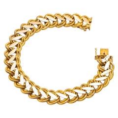 18k Yellow Gold Bracelet, Brushed and Shiny Mesh, Year 1960