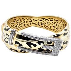 18 Karat Yellow Gold Buckle and Black Enamel Cheetah Print Bangle