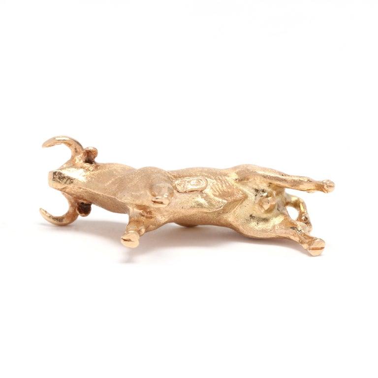 Women's or Men's 18K Yellow Gold Bull Taurus Zodiac Charm For Sale
