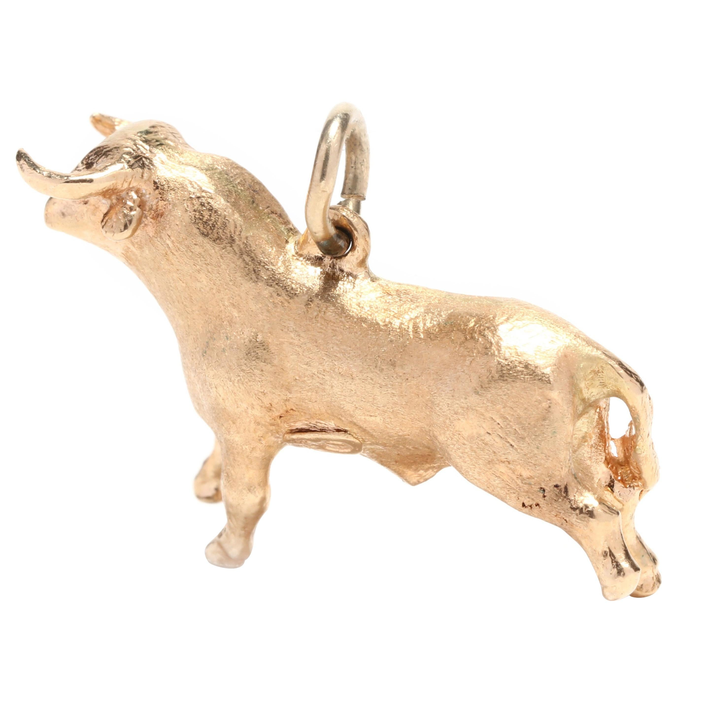 18K Yellow Gold Bull Taurus Zodiac Charm