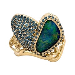 18k Yellow Gold Butterfly Ring with Black Opal and Teal Blue Diamonds