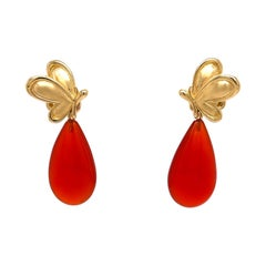 18k Yellow Gold Butterfly Studs with Carnelian Drop Jackets