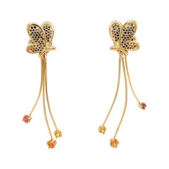 18k Yellow Gold Butterfly Studs with Colored Diamonds and Sapphire Jackets