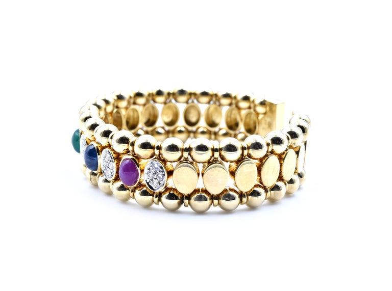 Round Cut 18 Karat Yellow Gold Cabochon Ruby, Sapphire and Emerald Bangle Bracelet For Sale