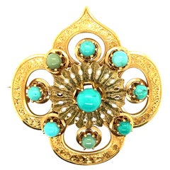 18K Yellow Gold Cabochon Turquoise Brooch