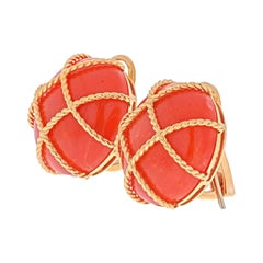 18K Yellow Gold Caged Coral Clip On Round Button Earrings