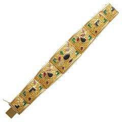 18k Yellow Gold Cannetille Filigree Sapphire Emerald & Ruby Bracelet