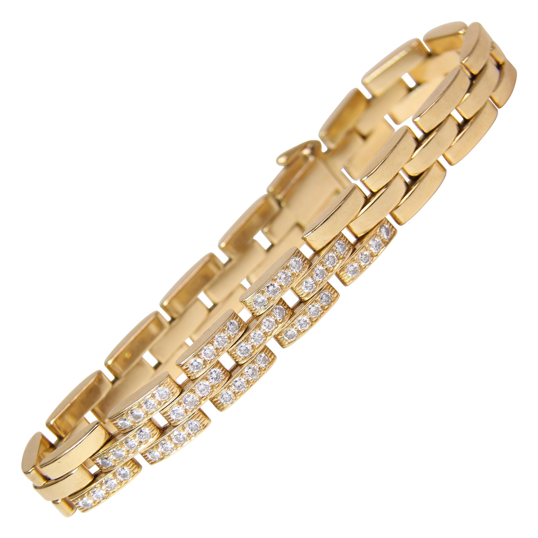 18k Yellow Gold Cartier Diamond Link Bracelet