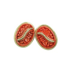 18 Karat Yellow Gold Carved Coral and Diamond Clip-On Earrings