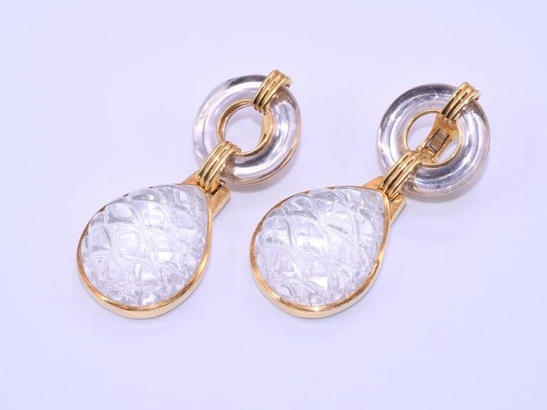 Women's or Men's 18 Karat Yellow Gold Carved Rock Crystal Drop Earrings by David Webb For Sale