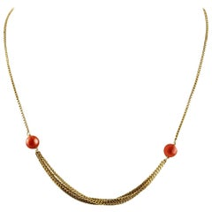 18 Karat Yellow Gold Chain and Red Spheres Coral Retrò Necklace
