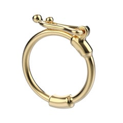 18k Yellow Gold Charm Enhancer, Connector, Open Link