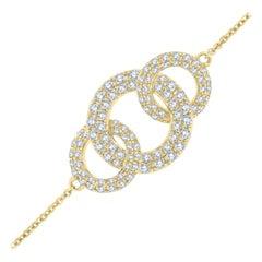 18k Yellow Gold Circle Diamond Bracelet '3/4 Ct. Tw'