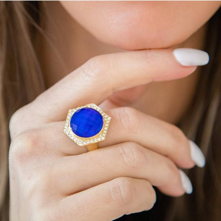 Royal Lapis collection Cocktail Ring featuring a round