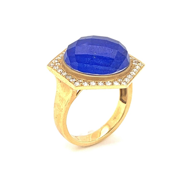 18K Yellow Gold Cocktail Ring with Lapis Lazuli Rock Crystal Quartz and Diamonds In New Condition For Sale In Great Neck, NY