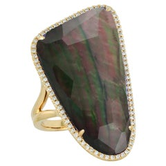 18K Yellow Gold Cocktail Ring w/Rock Crystal Quartz, Mother of Pearl & Diamonds