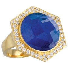 18K Yellow Gold Cocktail Ring with Lapis Lazuli Rock Crystal Quartz and Diamonds