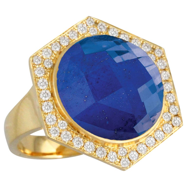 18K Yellow Gold Cocktail Ring with Lapis Lazuli Rock Crystal Quartz and Diamonds For Sale