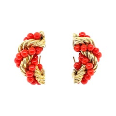18k Yellow Gold Coral Bead Earrings