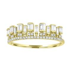 18K Yellow Gold Crown Diamond Ring