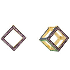 """18 Karat Gold Cube Dormeuse """"3D"""" Earrings with Diamonds and Colored Stones"""