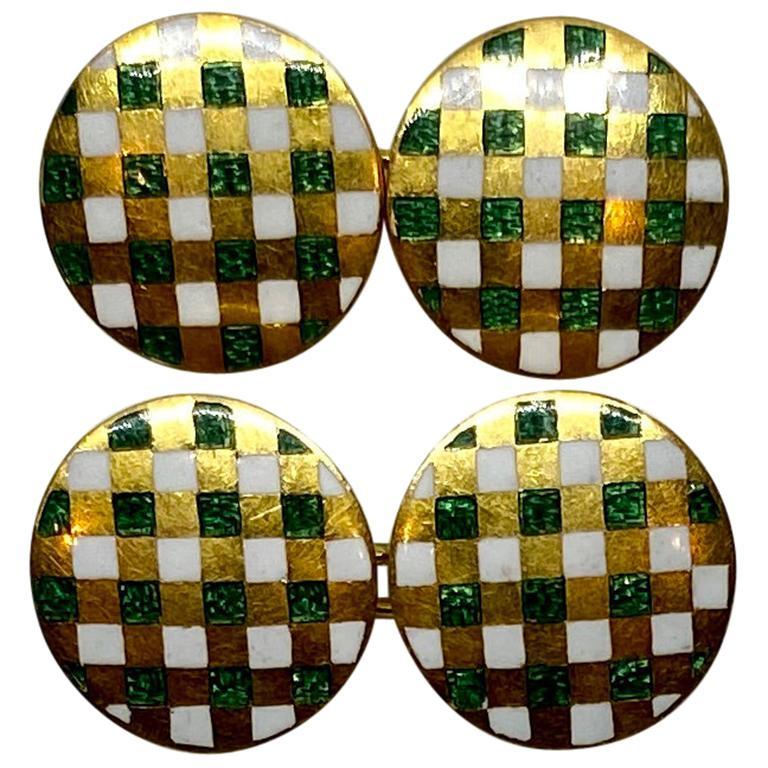 18 Karat Yellow Gold Cufflinks with Checkered Green and White Enamel