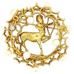 18K Yellow Gold Cultured Pearl and Diamond Sagittarius Brooch