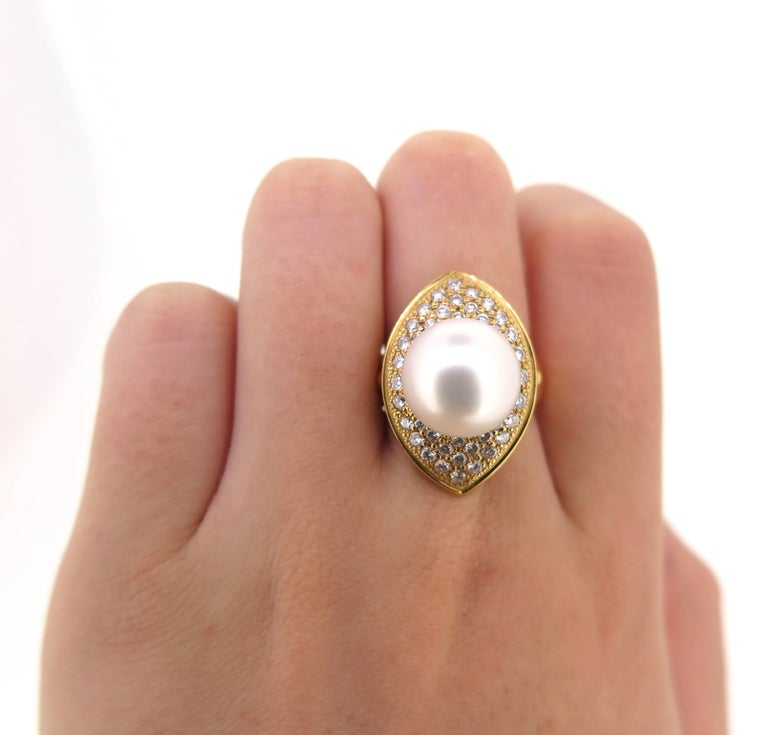 Modern 18 Karat Yellow Gold Cultured South Sea Pearl and Diamond Dress Ring For Sale