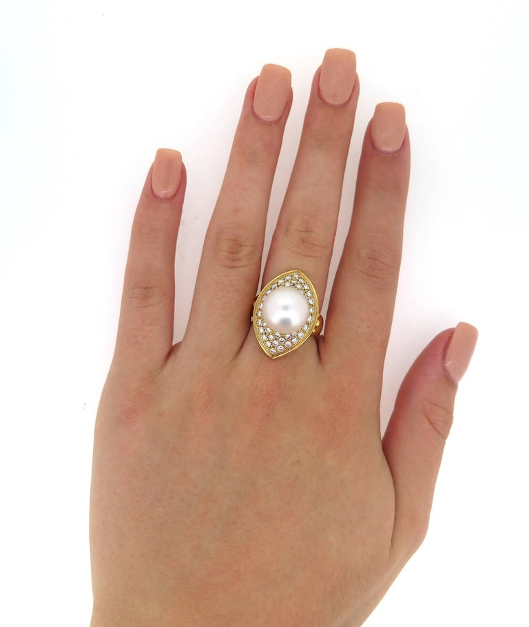 Round Cut 18 Karat Yellow Gold Cultured South Sea Pearl and Diamond Dress Ring For Sale