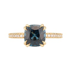 18k Yellow Gold Cushion Cut Peacock Blue Spinel Engagement Ring