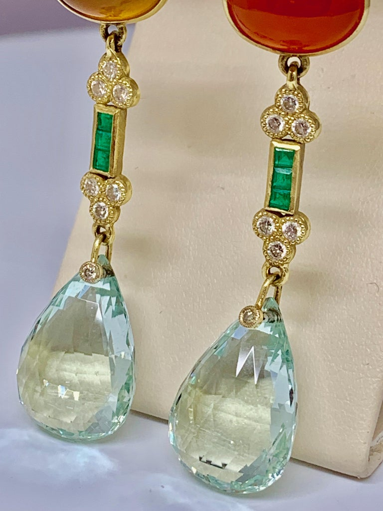 18 Karat Gold Designer Aquamarine and Diamond Station Detachable Drop Earrings In New Condition For Sale In Gainesville , FL