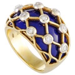 18 Karat Yellow Gold Diamond and Blue Enamel Band Ring