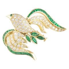 18k Yellow Gold Diamond and Emerald Bird Brooch