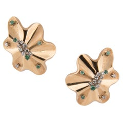 18k Yellow Gold Diamond and Emerald Clip-On Earrings