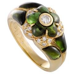 18 Karat Yellow Gold Diamond and Green Tourmaline Flower Band Ring